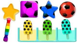 Learn Colors with 5 Color Soccer Ball Ice Cream | Learn Shapes for Children