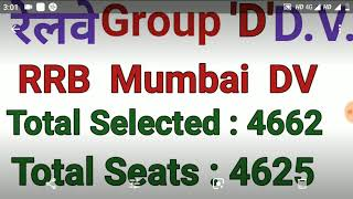Railway Mumbai Zone  'D' Group Official Document Verification Date and Result Declared and PWBD D.V thumbnail