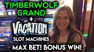 Max Bet BONUS WIN! First Time Getting Free Spins on VACATION! Slot Machine!