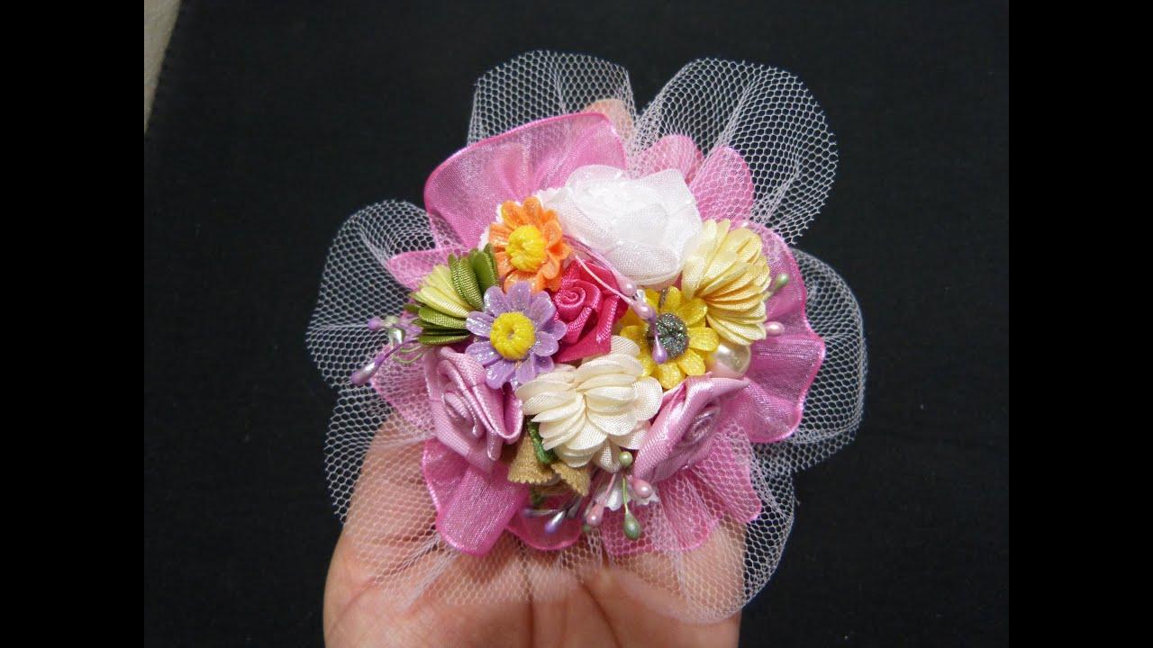 Como hacer flores de liston y tul how to make flower diy - Lazos con cintas ...