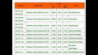 Pakistan vs New Zealand in UAE 2014 full schedule