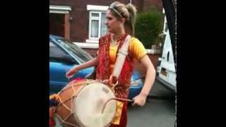 Punjabi Girl Playing Dhool in UK - Song No.2