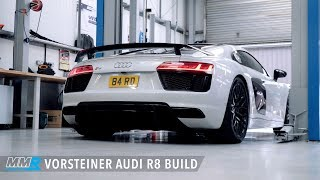The latest supercar from audi gets mmr performance treatment! this r8 v10 plus features a vorsteiner carbon fibre rear wing, set of kw springs, adv.1 rim...