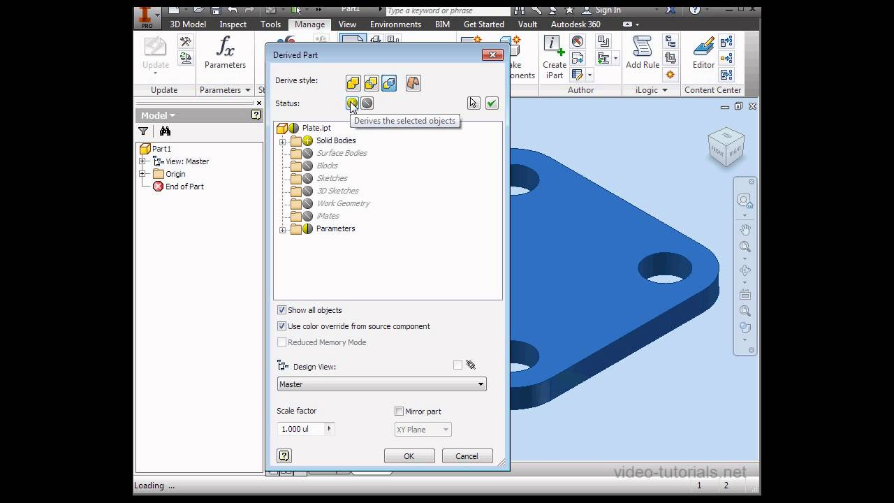 How to create and work with derived parts #1 - AutoDesk Inventor Assembly  Tutorials