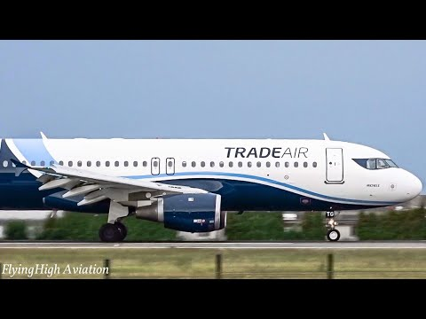 BEAUTIFUL Trade Air Airbus A320-212 Close-Up Landing at Belgrade Airport