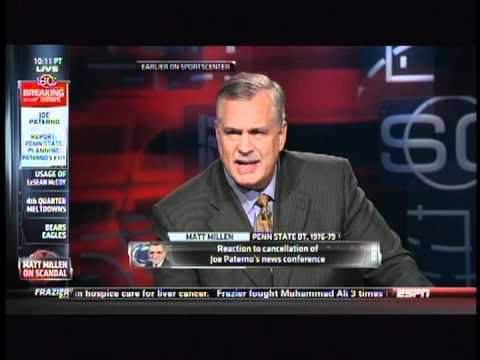 Matt Millen breaks down when discussing Penn State