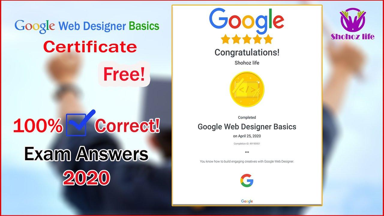 Web Designer Certifications Exam Guidelines 2020 Google Achieve100 Score Covid19 Shohozlife Youtube