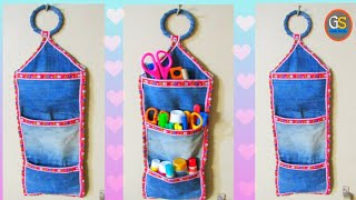 Diy Beautiful Organizer From Old Jeans | Old Jeans Reuse Idea | Jeans Organizer