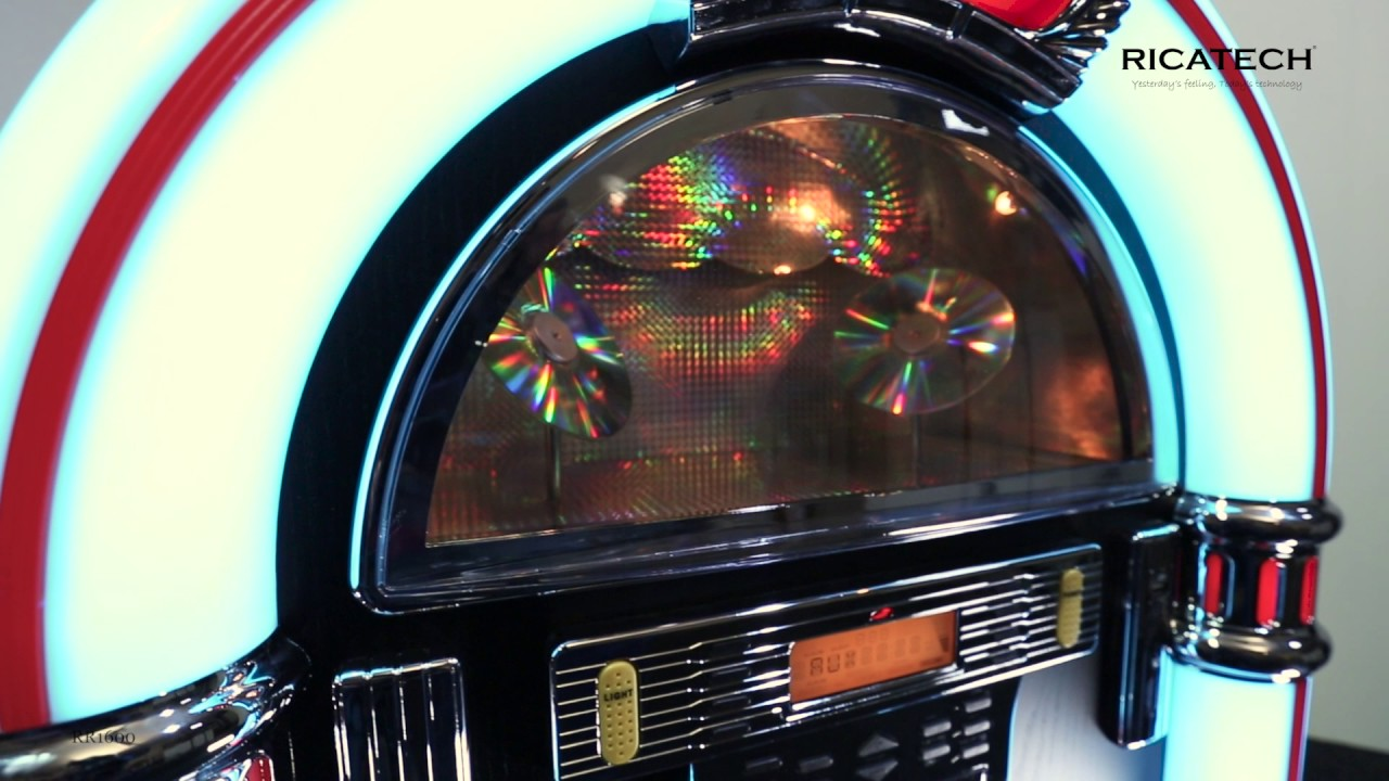 Ricatech RR1600 Full-size 7-colour LED Retro Jukebox with CD player, radio,  USB & SD, line in