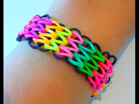 Tutoriel : réaliser un bracelet élastique manchette avec une seule machine RAINBOW LOOM  (français)