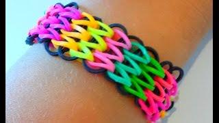 Repeat youtube video Tutoriel : réaliser un bracelet élastique manchette avec une seule machine RAINBOW LOOM  (français)