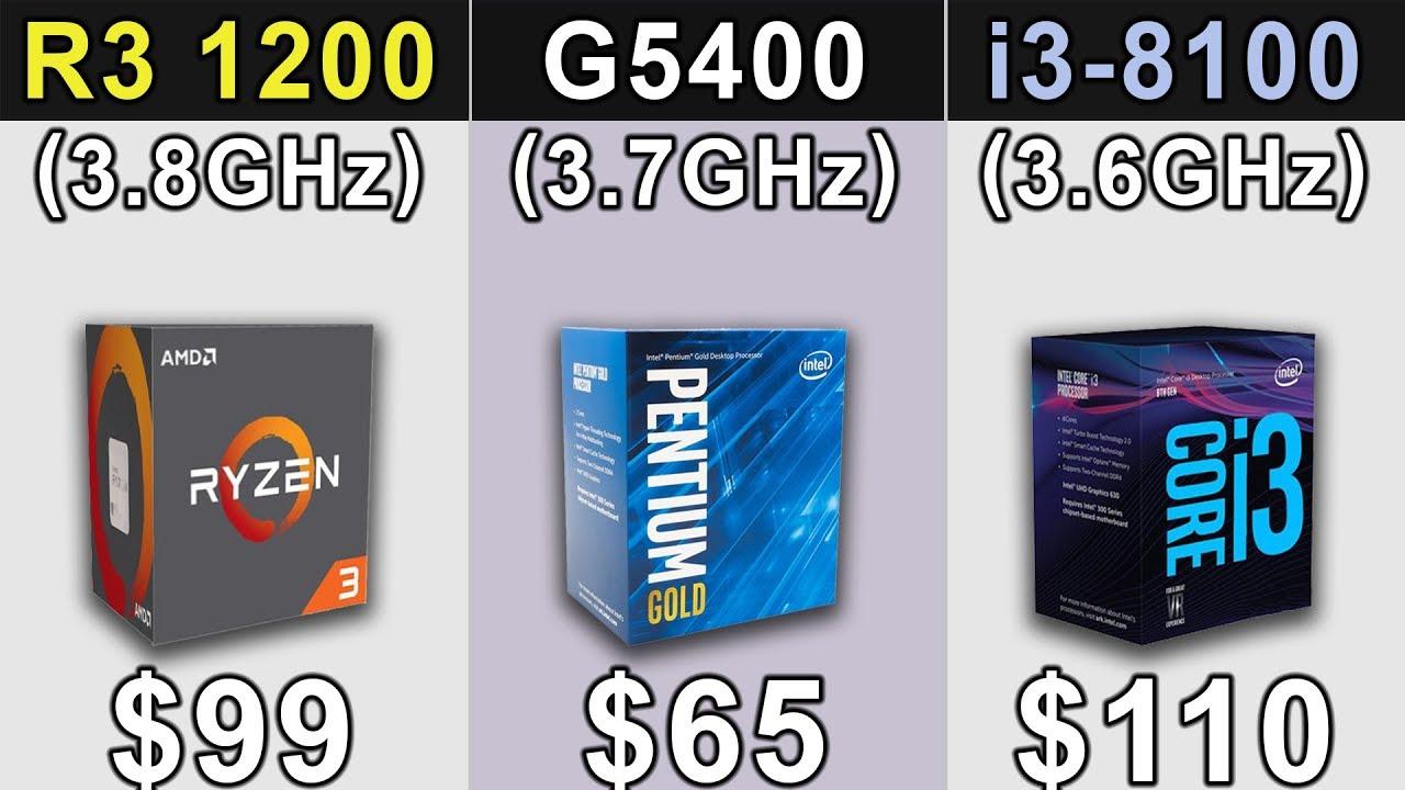 R3 1200 (3.8GHz) OC vs Pentium G5400 (3.7GHz) vs i3-8100 ...
