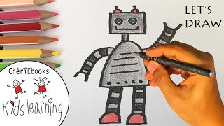 robot draw drawing step easy simple children lets