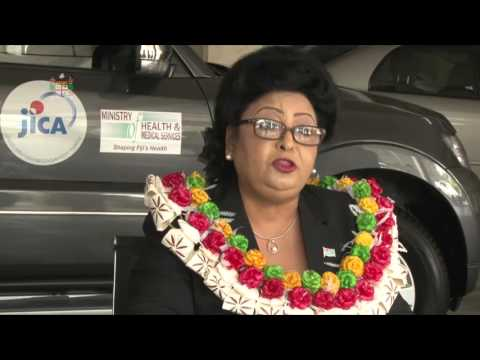 Assistant Minister for Health, Veena Bhatnagar receives vehicle donation from the JICA