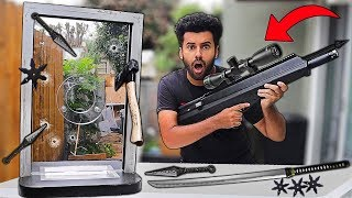 I Bought A 100% UNBREAKABLE REAL BANK BALLISTIC GLASS WINDOW!!! *FIRST TO BREAK WINS $10,000*