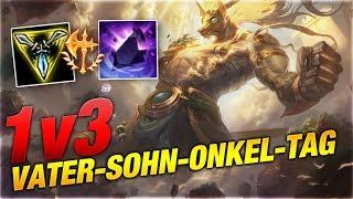 1v3 Vater + Sohn + Onkel Tag! Conqueror Nasus Toplane [League of Legends]