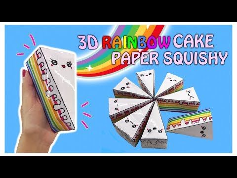 3D PAPER SQUISHY-HOW TO MAKE 3D RAINBOW CAKE PAPER SQUISHY WITHOUT FOAM