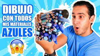 DIBUJO CON TODOS MIS MATERIALES DE COLOR AZUL !! Marcadores, Lapices, Acuarelas, etc | HaroldArtist