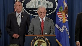 Attorney General Jeff Sessions live remarks on government leaks, national security Free HD Video
