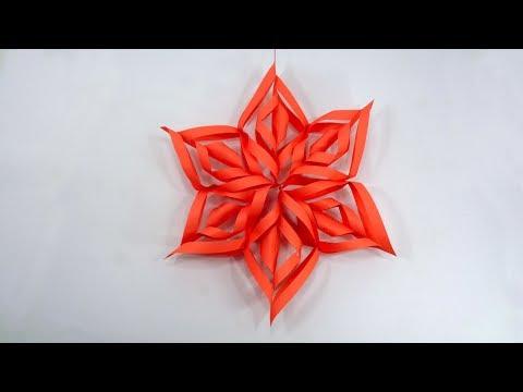 3D Paper Snowflake Tutorial - Origami Christmas Snowflakes Decoration - DIY Wall Decoration Ideas