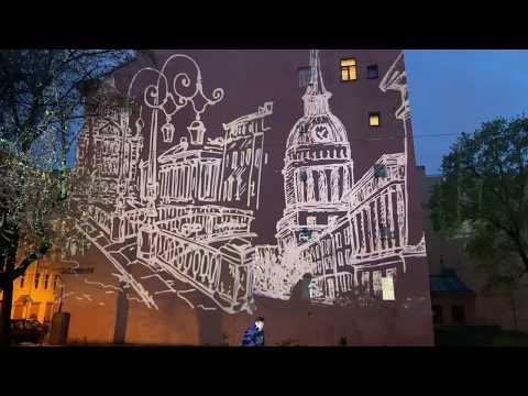 Питер как арт-объект, световая проекция на здания, проектор Gobo Led 150 от Goboimage