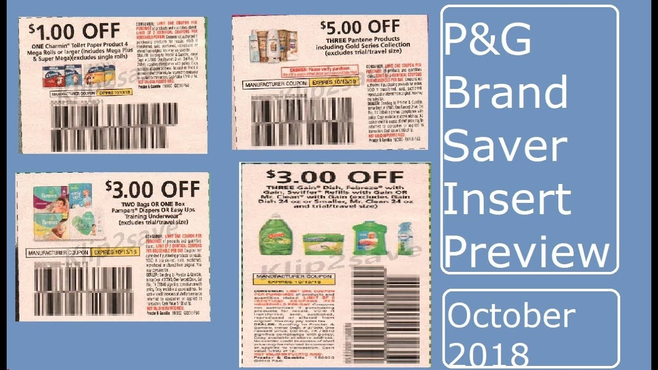P G Brandsaver Coupon Insert Preview October 2018 Youtube