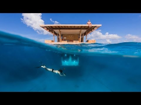 Multi Level Floating Hotel with an Underwater Room -- The Manta Resort