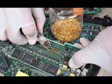 Gold Recycle from scrap components electronics connectors Electronic circuit Boards computer parts
