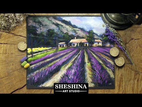 How to draw a landscape with a lavender field with soft pastels 🎨 LANDSCAPES