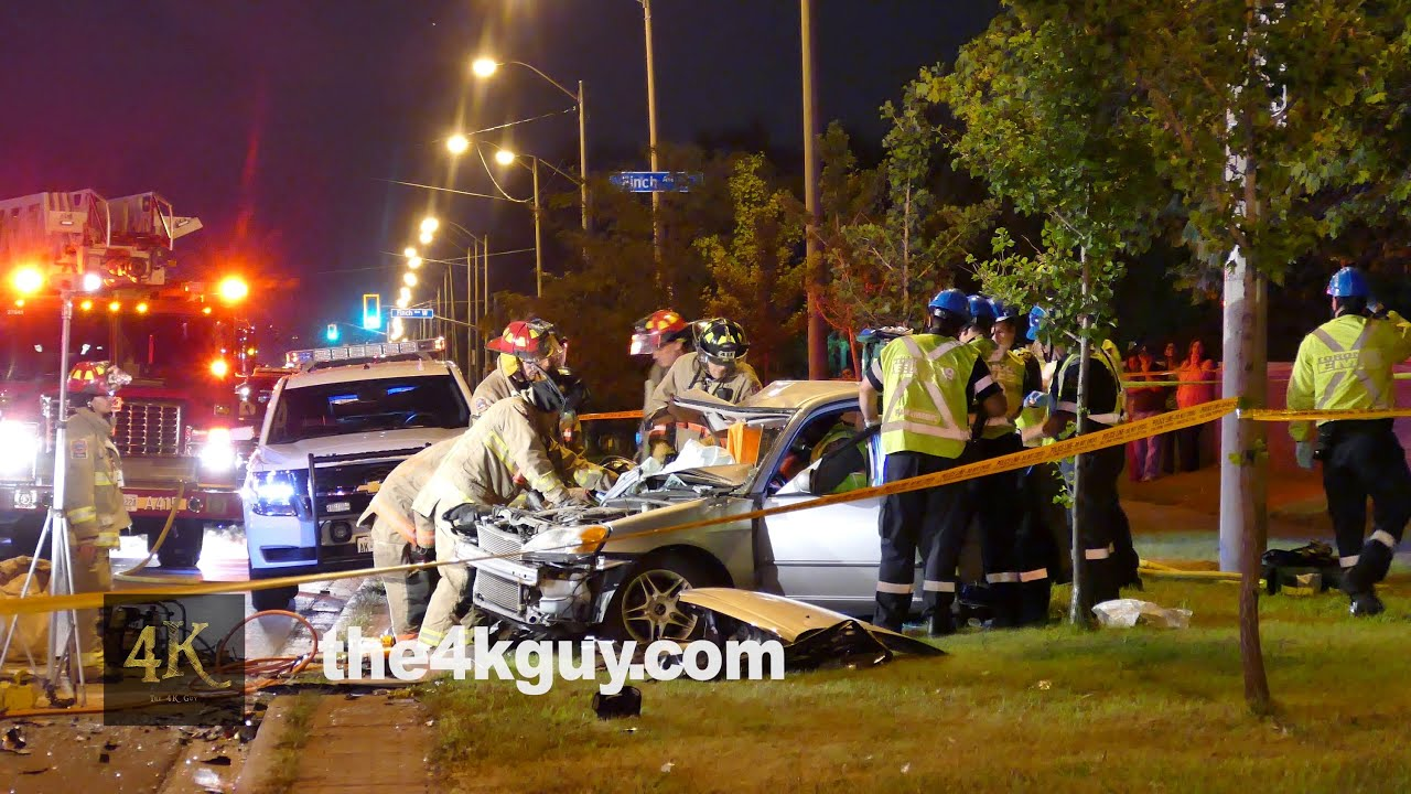 Charming Etobicoke: Man Extricated From Car Wreck After Crash 8 28 2015   YouTube