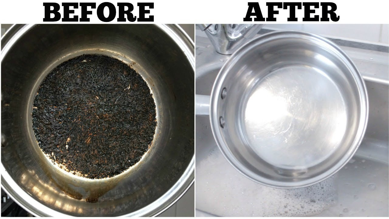 The Best Way to Clean a Burnt Pot Easily  Cleaning tips