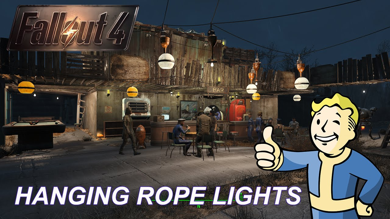 How To Use Wall Lights Fallout 4 : Hanging Rope Lights Tutorial Fallout 4 - YouTube