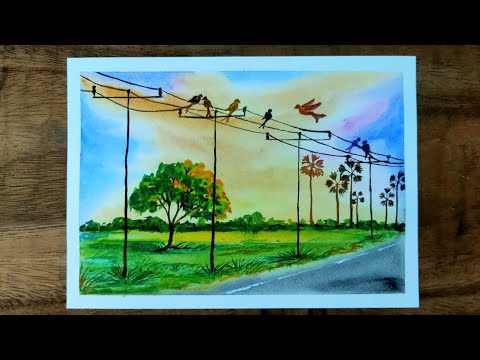 watercolor painting for beginners of beautiful landscape easy