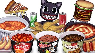 Mukbang Animation Hot spicy food pizza burger set eating Cartoon cat Complete edition 01