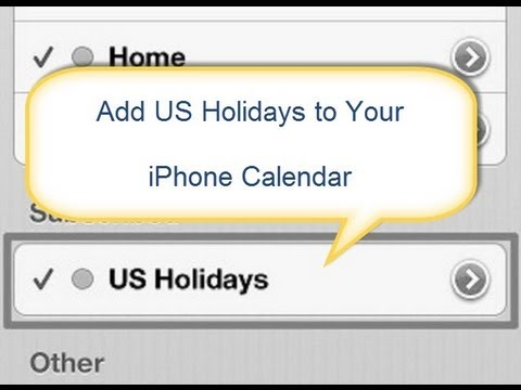 How to Add US Holidays to iPhone Calendar - YouTube
