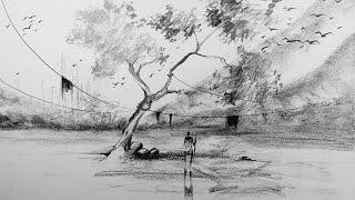 Charcoal art    landscape art drawing