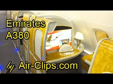Emirates Airlines A380 Business Class Full Flight + Bar & First Class [AirClips full flight series]