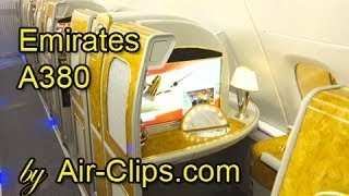Emirates Airlines A380 Business Class Full Flight + Bar & First Class [AirClips full flight series]
