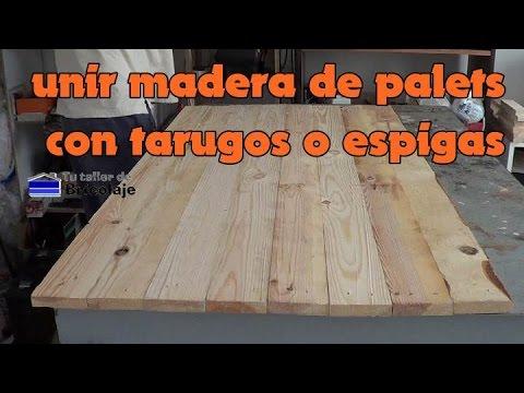 C mo unir madera de palets con tarugos o espigas youtube for Listones de madera para palets