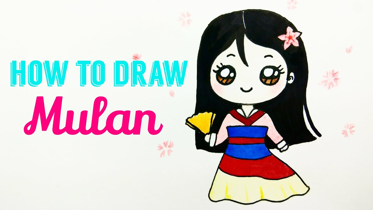 How To Draw Mulan Easy Cute Princess Mulan Drawing Tutorial For Beginner Kids Youtube