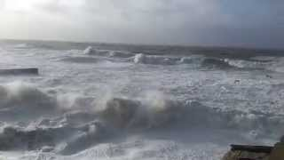 6 Fishing Boats Sink in Huge Storm at Porthleven, Cornwall Big Waves 2014