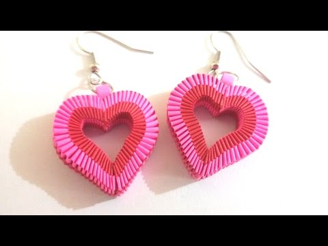 6. How to make Paper Weaving Heart Shape Earrings #valentinespecial