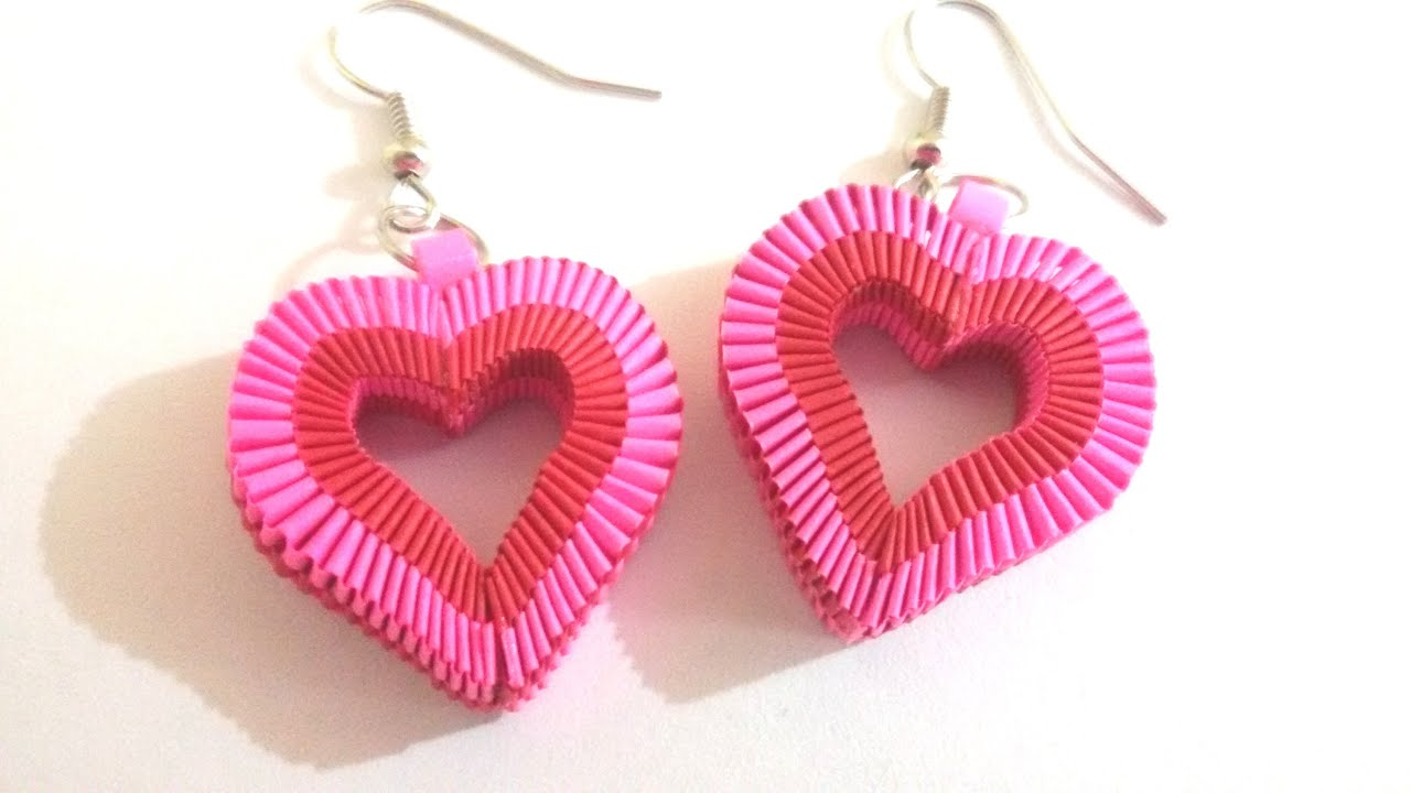 Papercraft 6. How to make Paper Weaving Heart Shape Earrings