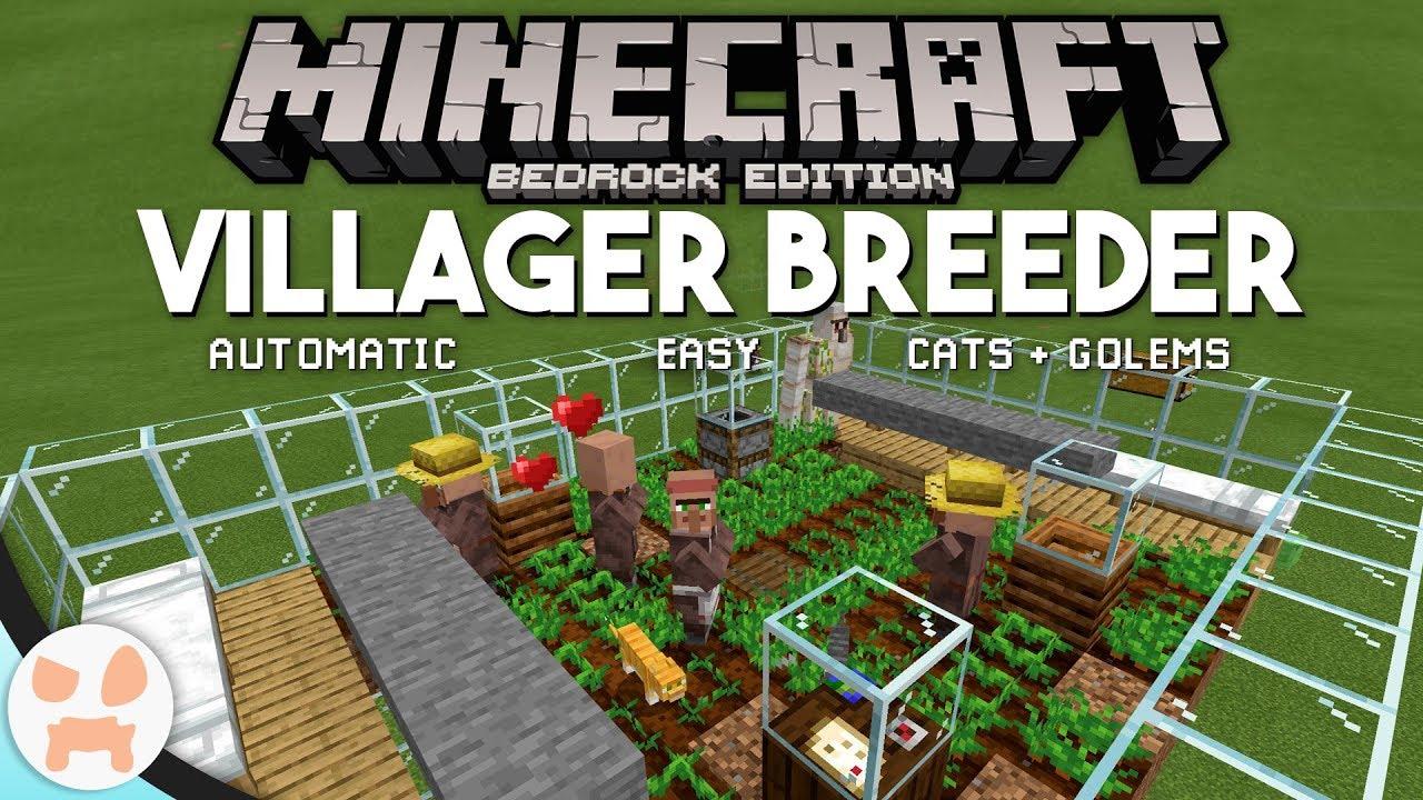 Minecraft Bedrock VILLAGER BREEDER TUTORIAL!  Easy, Automatic