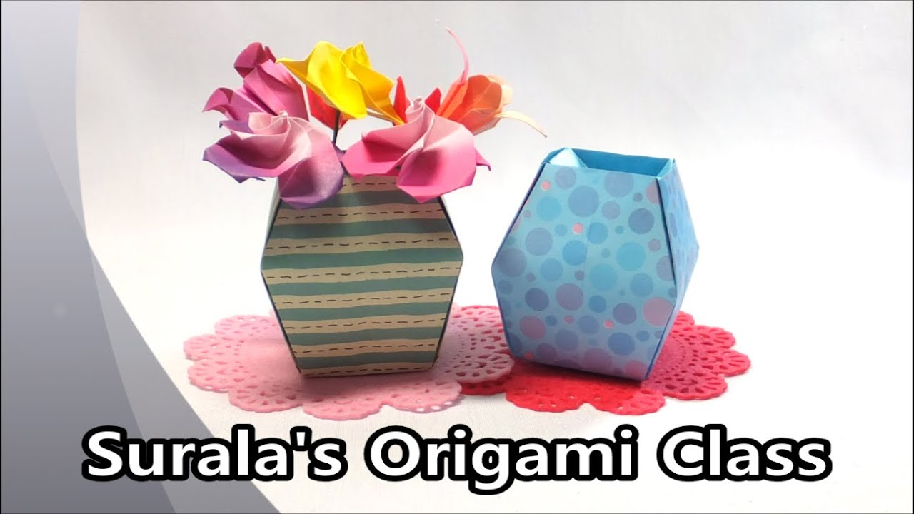 Origami Vase Flower Pot Youtube