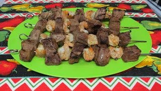 Easy Steak and Shrimp Shish Kebabs on the Grill