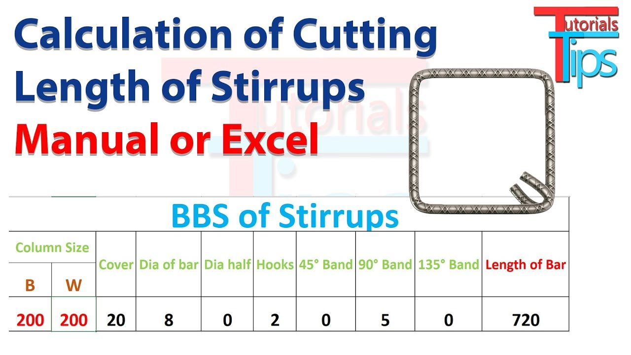 calculate: How to cutting length of rectangular stirrups