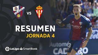 Resumen de SD Huesca vs Real Sporting (1-0)