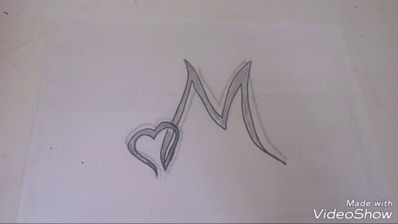 رسم حرف M بطريقه ابداعيه وبسيطه يمكن تنفيذها بسهوله جرب بنفسك