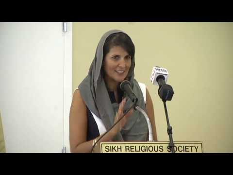Governor Nikki Haley speaks at a Sikh Temple